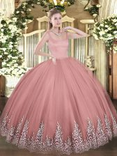 Cute Rust Red Sleeveless Tulle Zipper Quinceanera Dress for Military Ball and Sweet 16 and Quinceanera