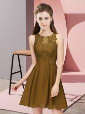 Glorious Brown Chiffon Zipper Dama Dress for Quinceanera Sleeveless Mini Length Appliques