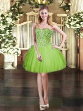 Excellent Sleeveless Tulle Mini Length Lace Up Prom Dress in with Beading and Ruffles