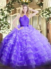 Floor Length Lavender 15th Birthday Dress Scoop Sleeveless Zipper
