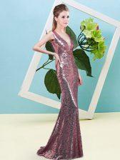 Sleeveless Zipper Floor Length Sequins Evening Dress