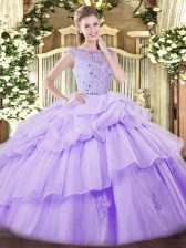 Lavender Quinceanera Dresses For with Beading and Ruffles and Pick Ups Bateau Sleeveless Zipper