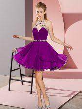 Mini Length Dark Purple Prom Evening Gown Halter Top Sleeveless Zipper