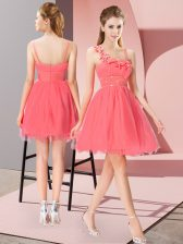 Coral Red Empire Beading and Hand Made Flower Prom Party Dress Zipper Organza Sleeveless Mini Length