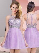 Mini Length Lavender Evening Dress Scoop Sleeveless Zipper