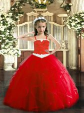 Latest Red Ball Gowns Straps Sleeveless Tulle Floor Length Lace Up Appliques and Ruffles Child Pageant Dress