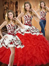 Beauteous Ball Gowns Sweet 16 Dresses Red Sweetheart Tulle Sleeveless Floor Length Lace Up