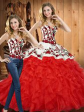 Red Ball Gowns Embroidery and Ruffles Sweet 16 Quinceanera Dress Lace Up Tulle Sleeveless Floor Length