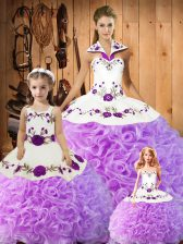Halter Top Sleeveless Vestidos de Quinceanera Floor Length Embroidery Lilac Satin and Fabric With Rolling Flowers