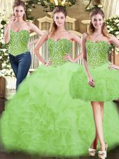 Yellow Green Lace Up Quince Ball Gowns Beading and Ruffles Sleeveless Floor Length