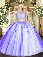 Custom Design Lavender Zipper Scoop Beading Quince Ball Gowns Tulle Sleeveless