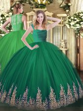 Fabulous Turquoise Ball Gowns Straps Sleeveless Tulle Floor Length Lace Up Beading and Appliques Quince Ball Gowns