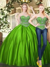 Floor Length Lace Up 15 Quinceanera Dress Green for Military Ball and Sweet 16 and Quinceanera with Beading