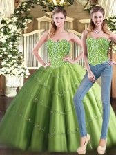 Shining Olive Green Tulle Lace Up 15th Birthday Dress Sleeveless Floor Length Beading
