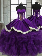 Sweetheart Sleeveless Satin and Organza Quinceanera Dress Beading and Ruffles Lace Up