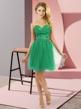 Charming Turquoise Empire Sweetheart Sleeveless Tulle Mini Length Zipper Beading Prom Dresses