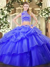 Blue Sleeveless Beading and Ruffles and Pick Ups Floor Length Quinceanera Dress