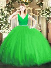 New Arrival Sleeveless Floor Length Beading Zipper Quinceanera Dresses