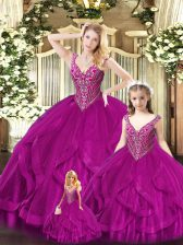 Low Price Floor Length Ball Gowns Sleeveless Fuchsia Quinceanera Dress Lace Up