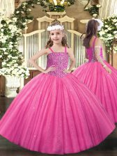 Hot Pink Straps Lace Up Beading Little Girls Pageant Dress Wholesale Sleeveless