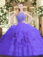 Admirable Purple Sleeveless Beading and Ruffled Layers Floor Length 15th Birthday Dress