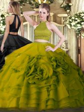 Beading and Ruffles Quinceanera Dress Olive Green Backless Sleeveless Floor Length