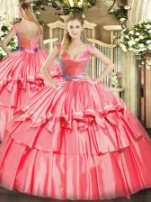 Fitting Hot Pink Quince Ball Gowns Military Ball and Sweet 16 and Quinceanera with Beading and Ruffled Layers V-neck Sleeveless Zipper