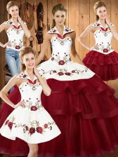 Wine Red Sleeveless With Train Embroidery and Ruffled Layers Lace Up Sweet 16 Quinceanera Dress