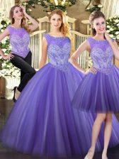Customized Lavender Scoop Neckline Beading Quinceanera Gown Sleeveless Zipper