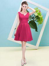 Best Hot Pink Asymmetric Neckline Ruching Quinceanera Court Dresses Sleeveless Zipper