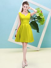 Admirable Yellow Zipper Asymmetric Ruching Court Dresses for Sweet 16 Satin Sleeveless