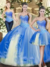 Cheap Baby Blue Sleeveless Beading Floor Length Quinceanera Gown