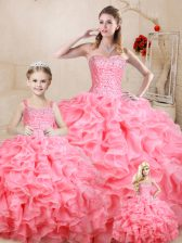 Watermelon Red Organza Lace Up Sweet 16 Dress Sleeveless Floor Length Beading and Ruffles