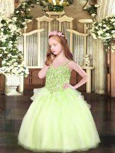 Enchanting Floor Length Yellow Green Pageant Dress Toddler Organza Sleeveless Appliques