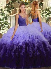 Multi-color Ball Gowns Organza V-neck Sleeveless Ruffles Floor Length Backless Sweet 16 Dresses