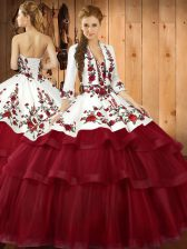 Low Price Wine Red Sleeveless Organza Sweep Train Lace Up Ball Gown Prom Dress for Military Ball and Sweet 16 and Quinceanera