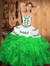 Floor Length Green Sweet 16 Dress Strapless Sleeveless Lace Up