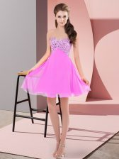 Lilac Empire Sweetheart Sleeveless Chiffon Mini Length Lace Up Beading Prom Evening Gown