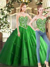 Floor Length Green Sweet 16 Dresses Tulle Sleeveless Beading