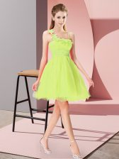 Perfect Yellow Green Empire Asymmetric Sleeveless Organza Mini Length Zipper Beading and Hand Made Flower Prom Dress