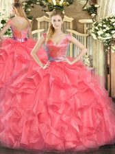 Shining Tulle V-neck Sleeveless Zipper Beading and Ruffles Sweet 16 Quinceanera Dress in Coral Red
