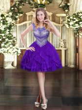 Mini Length Purple Prom Gown Tulle Sleeveless Beading and Ruffles