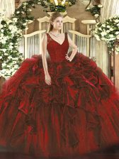Elegant Sleeveless Organza Floor Length Zipper Sweet 16 Dresses in Wine Red with Beading and Ruffles