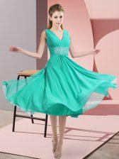 Exceptional Teal Side Zipper Quinceanera Dama Dress Beading Sleeveless Knee Length