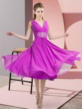 Dramatic Fuchsia V-neck Side Zipper Beading Dama Dress Sleeveless