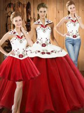 Fabulous Floor Length Wine Red Quinceanera Gown Halter Top Sleeveless Lace Up