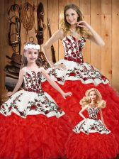 White And Red Sweet 16 Dress Military Ball and Sweet 16 and Quinceanera with Embroidery and Ruffles Sweetheart Sleeveless Lace Up