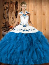 Top Selling Embroidery and Ruffles Quince Ball Gowns Teal Lace Up Sleeveless Floor Length