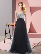 Tulle Sweetheart Sleeveless Lace Up Beading Dama Dress for Quinceanera in Black