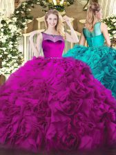 Clearance Fuchsia Zipper Scoop Beading Quinceanera Dress Fabric With Rolling Flowers Sleeveless